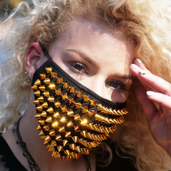 Gold Spikes Studded Half Face Mask with Replaceable Filter