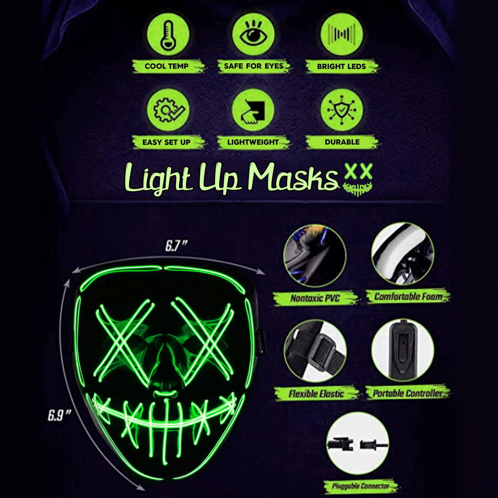 Anonymous Stitched LED Lighted Mask - Green