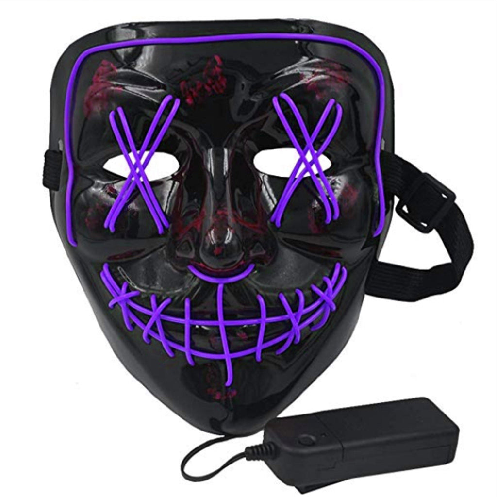 Anonymous Stitched LED Lighted Mask - Purple