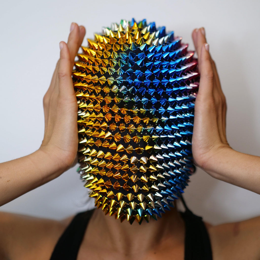 Rainbow Spikes Studded Full Face Jewel Margiela Mask