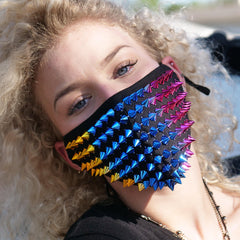 Rainbow Spikes Studded Half Face Mask