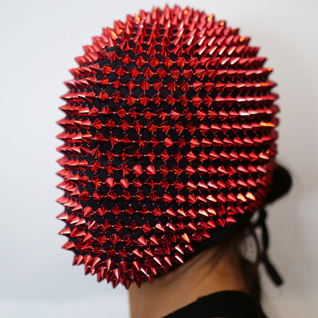 Red Spikes Studded Full Face Jewel Margiela Mask