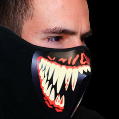 Sound Reactive LED Lighted Half Mask - White Teeth