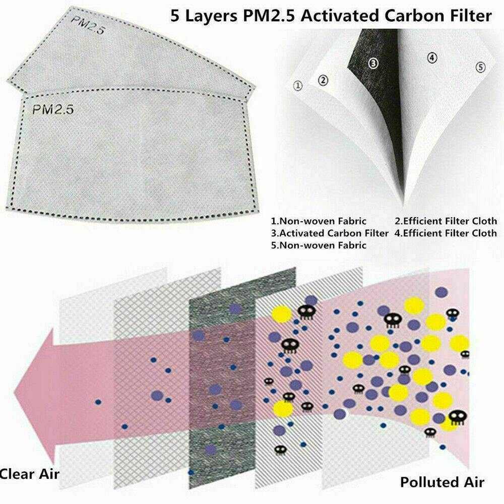 10 Pack Replaceable PM2.5 Carbon Filters for Half Face Masks
