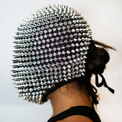 Silver Spikes Studded Full Face Jewel Margiela Mask