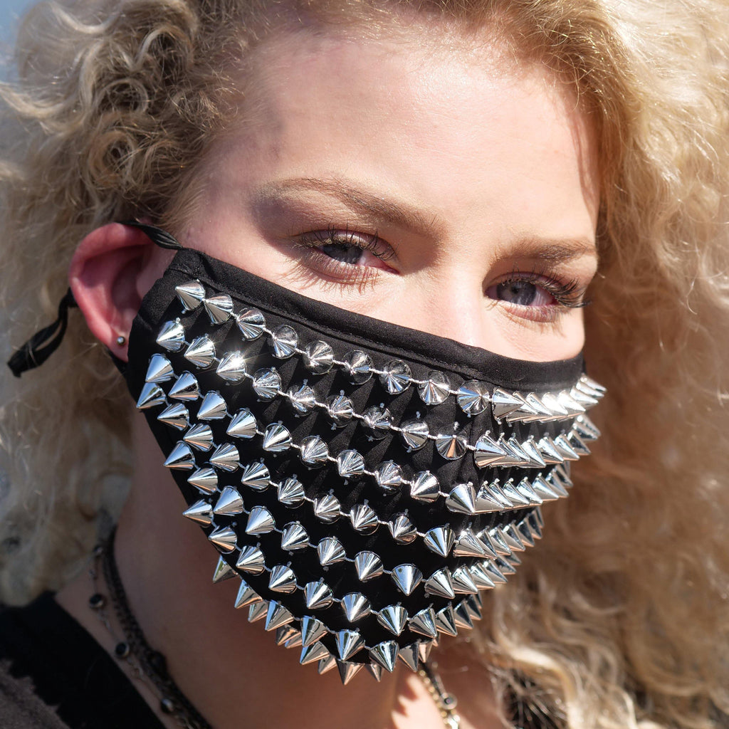 Silver Spikes Studded Half Face Mask with Replaceable Filter