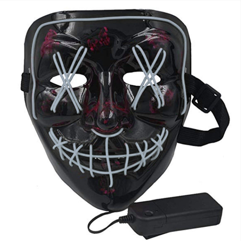 Anonymous Stitched LED Lighted Mask - White