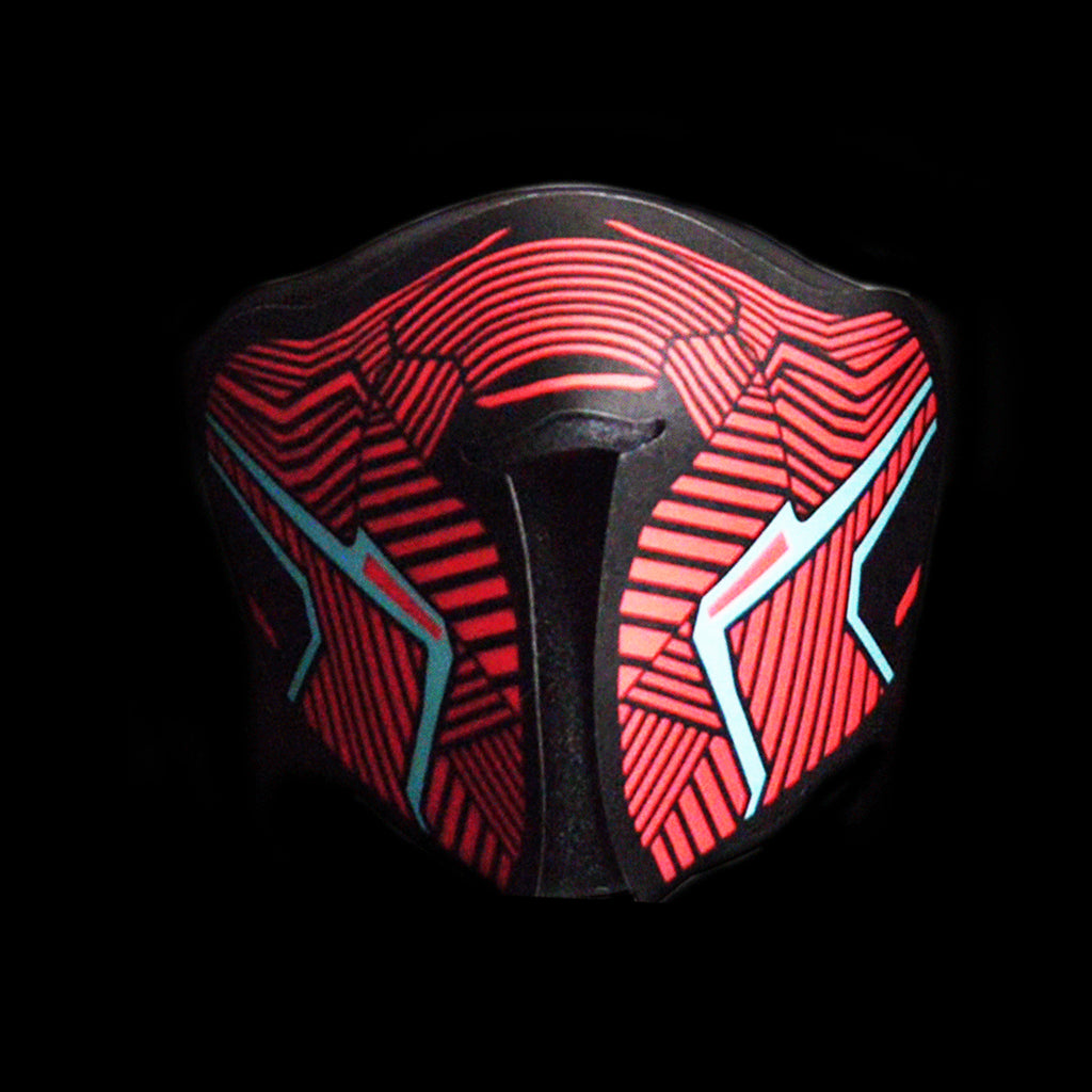 Sound Reactive LED Lighted Half Mask - Red Equalizer