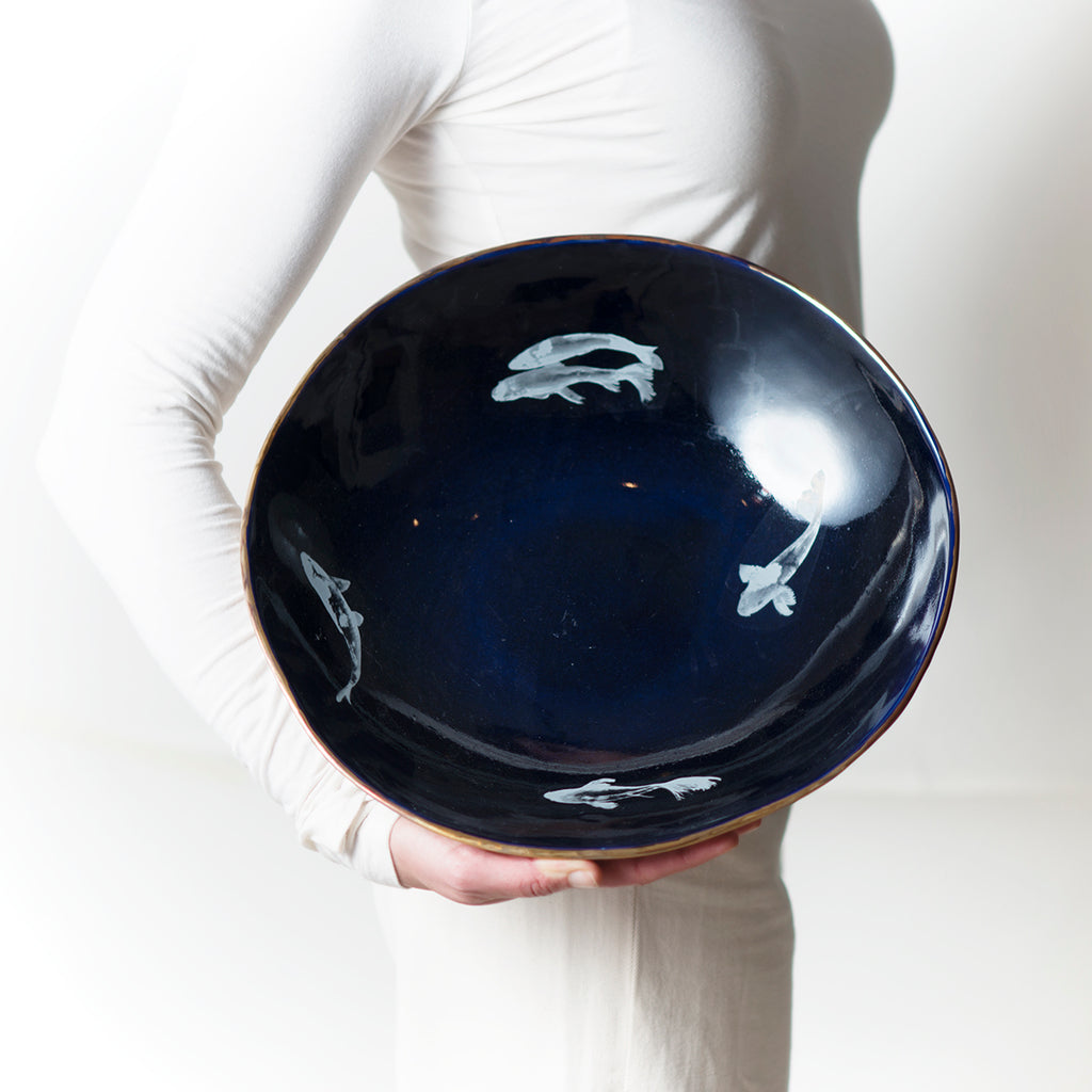 Cobalt blue salad bowl with Koi fish
