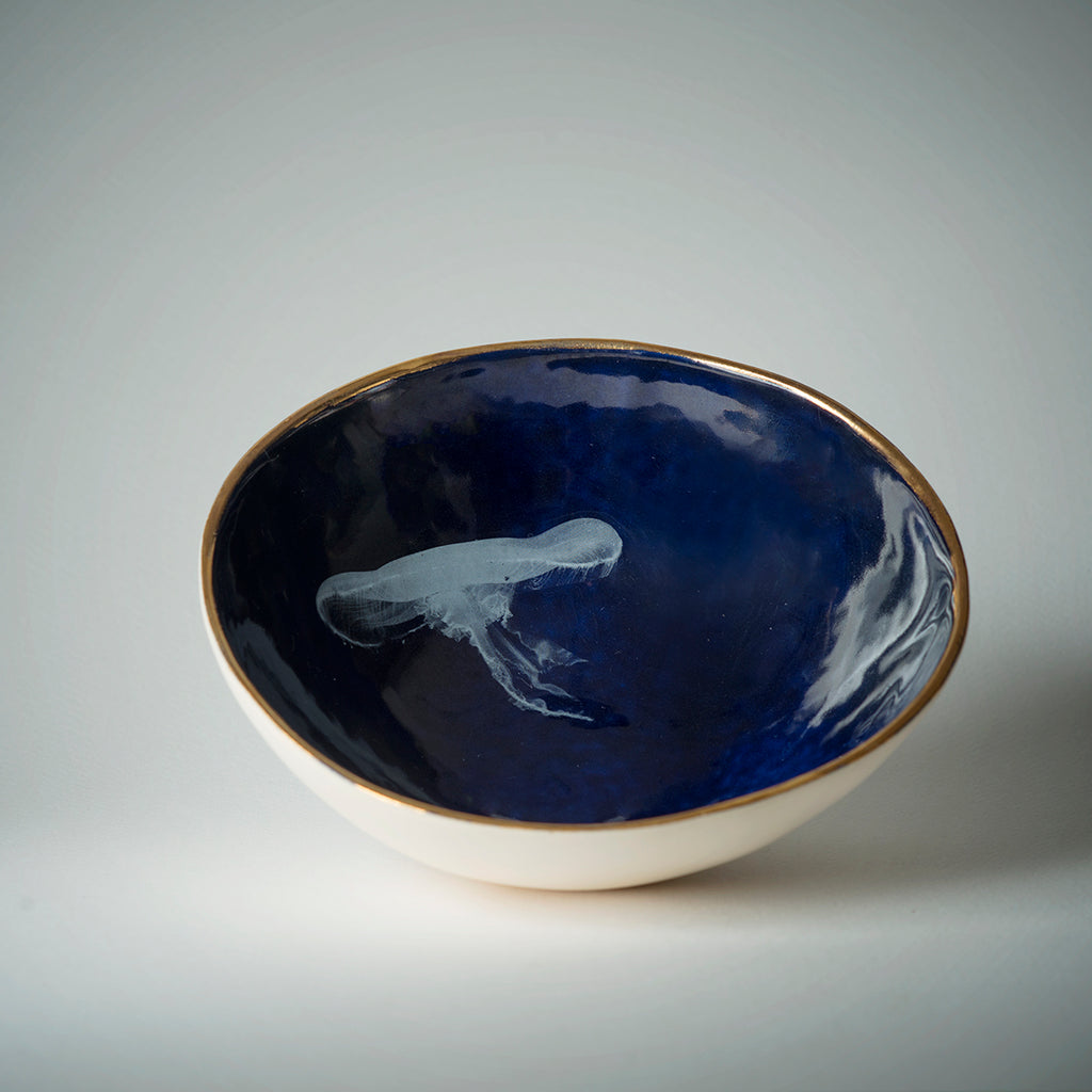 COBALT BOWL WITH JELLYFISH