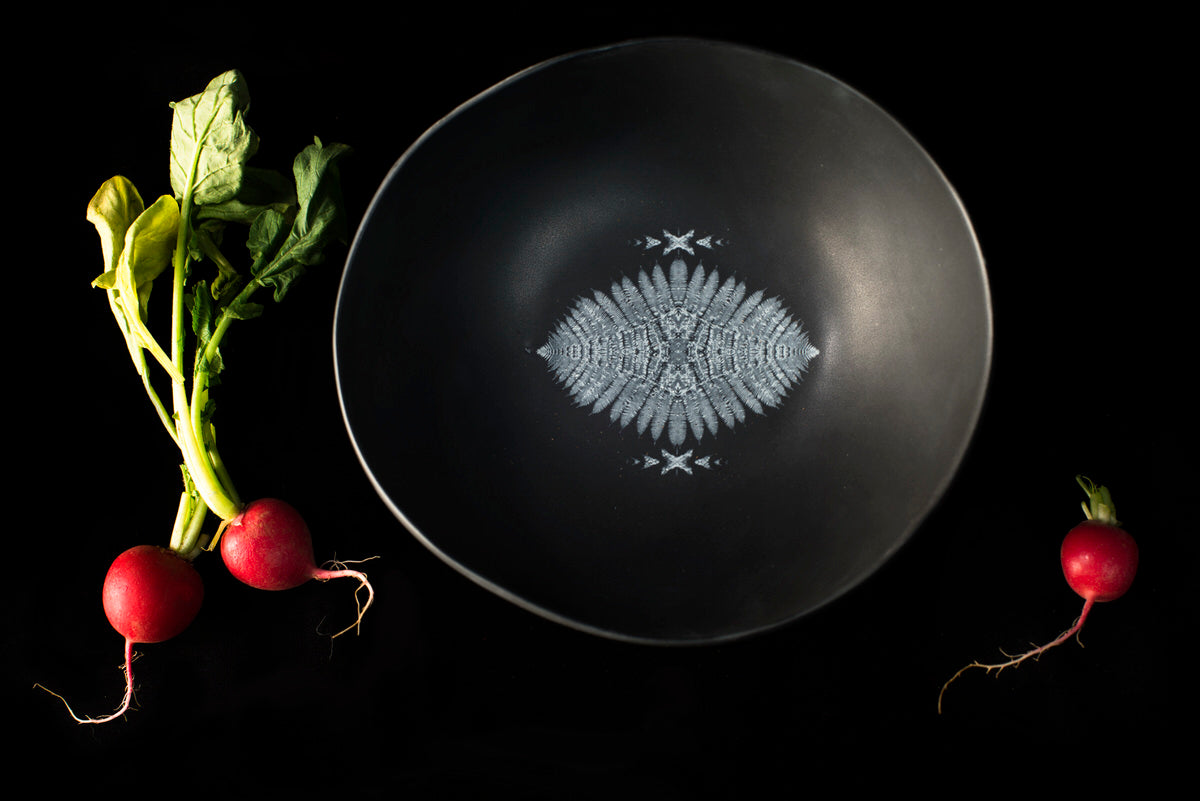 Porcupine design bowl - black handmade ceramics