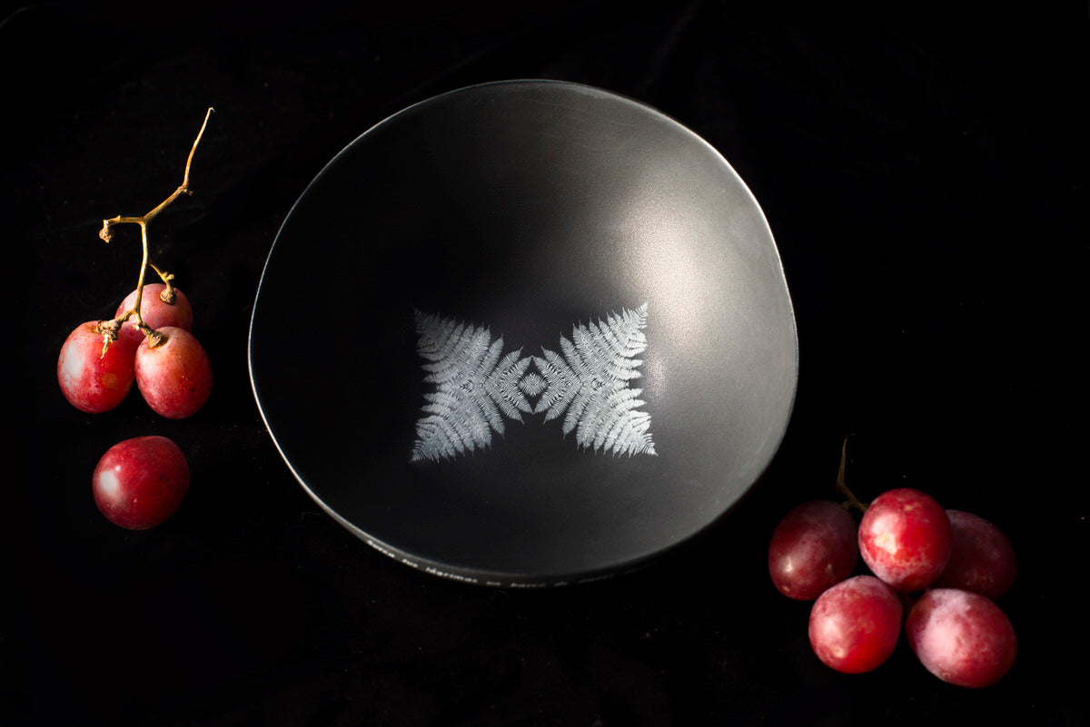 Wolf design bowl - black handmade ceramics