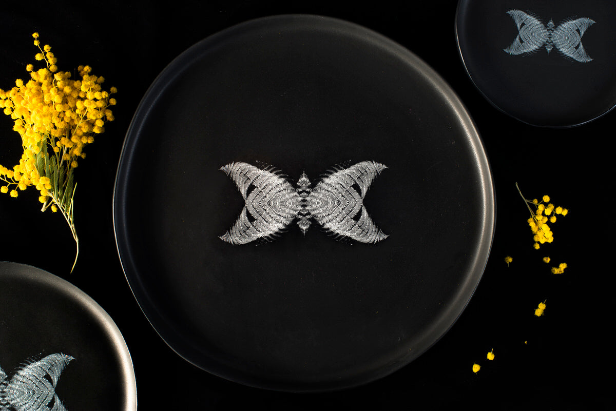 Butterfly design large plate - black handmade ceramics