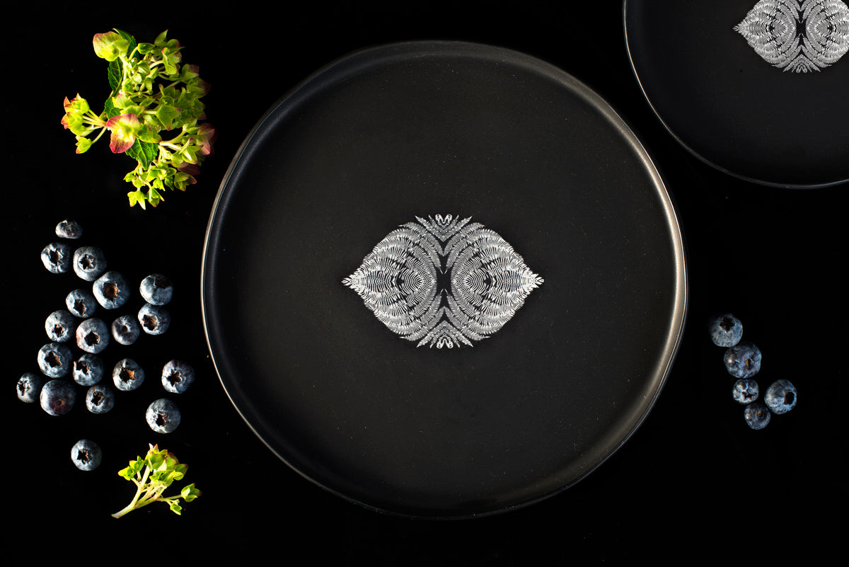 Bird design small plate - black handmade ceramics