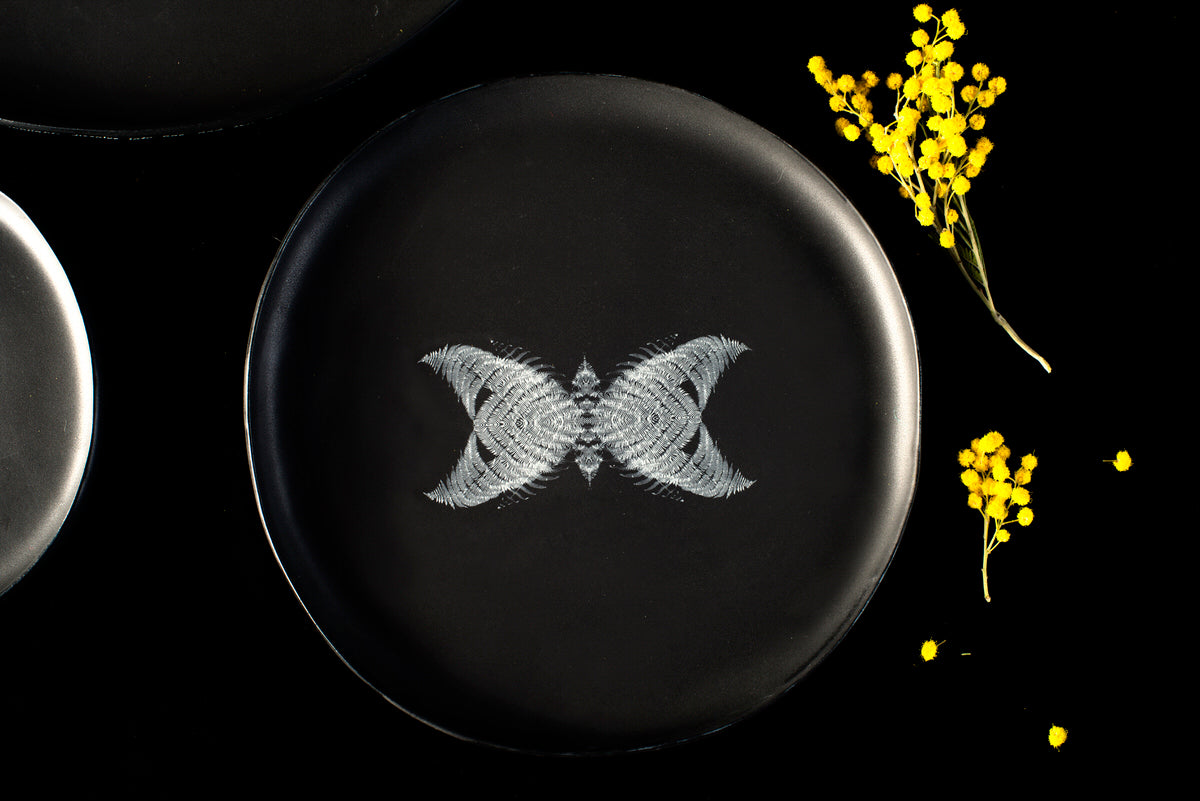 Butterfly design medium plate - black handmade ceramics