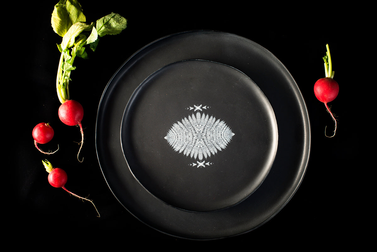 Porcupine design medium plate - black handmade Adarbakar ceramics