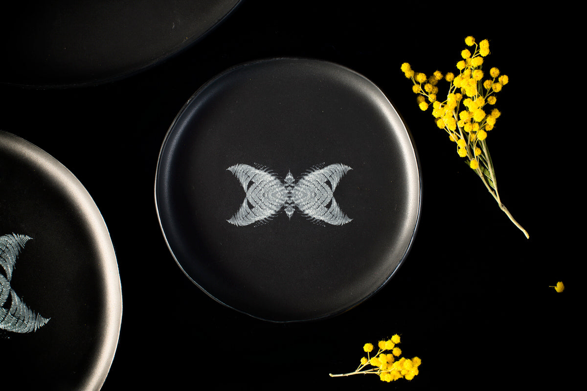 Butterfly design small plate - black handmade ceramics