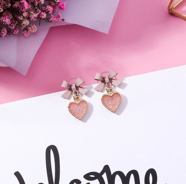Pink Bowknot Heart Drop Earrings