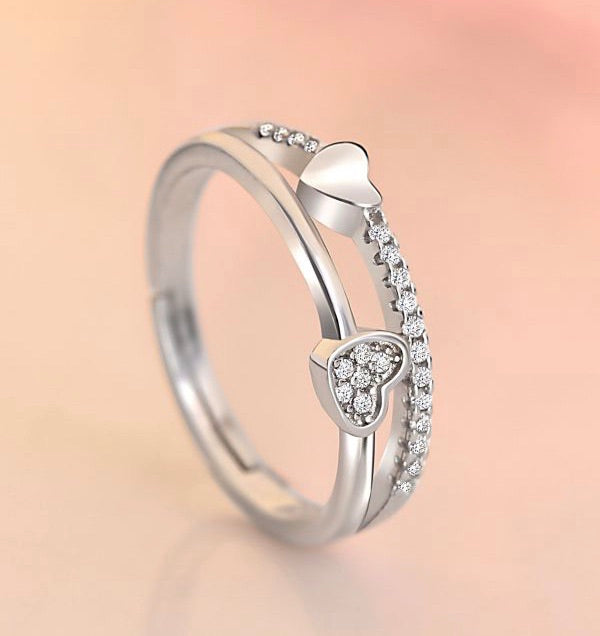 Double Heart Silver Layered Ring