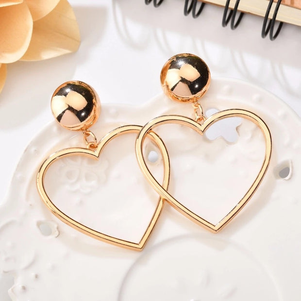 Golden Heart Dangle Earrings