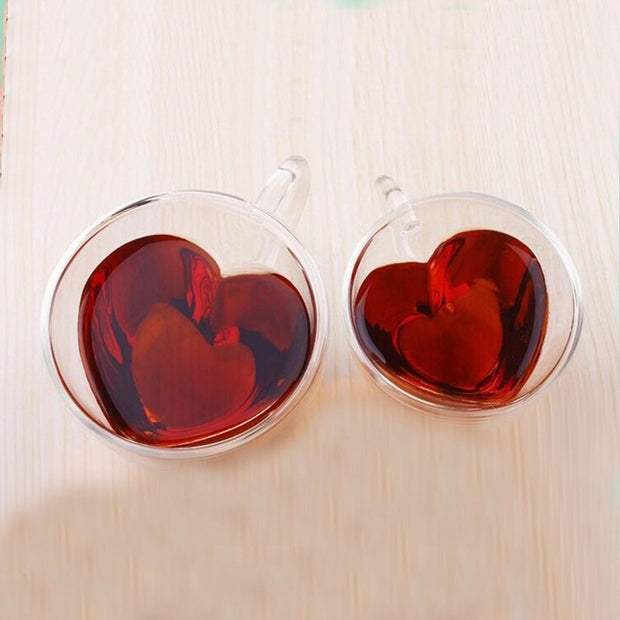 Heart-Shaped Double Layered Glass Mug