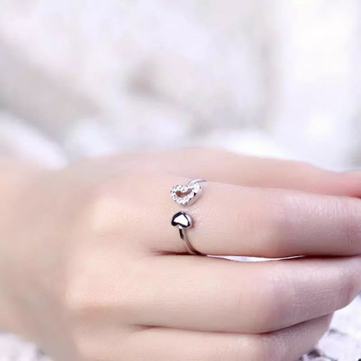 Silver Layered Hollow Hearts Ring