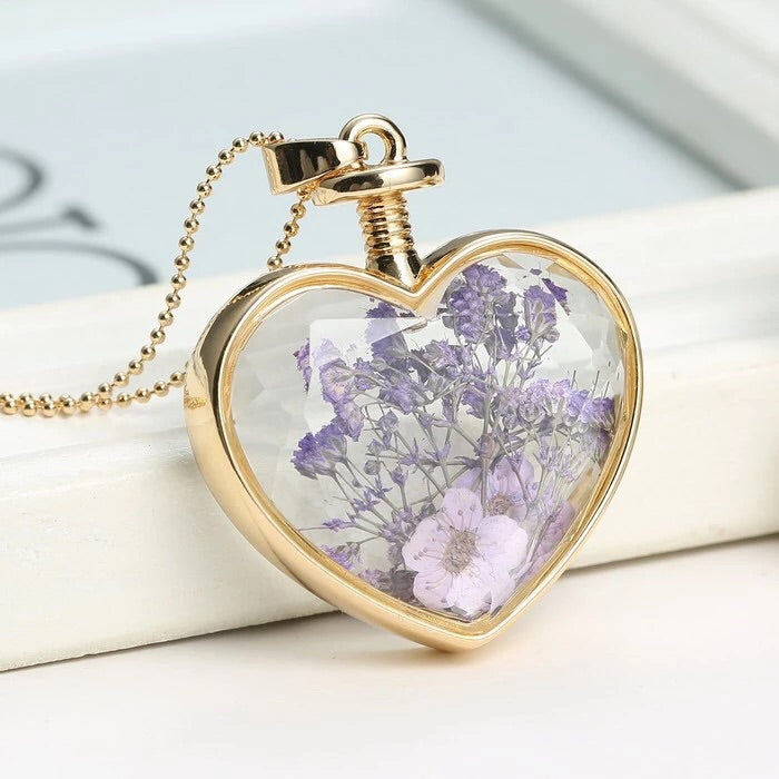 Elegant Dried Flower Glass Necklace