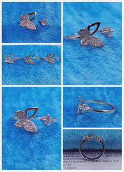 Silver Plated Butterfly Rhinestone Ring
