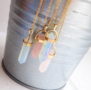 Gold Plated Quartz Crystal Necklace