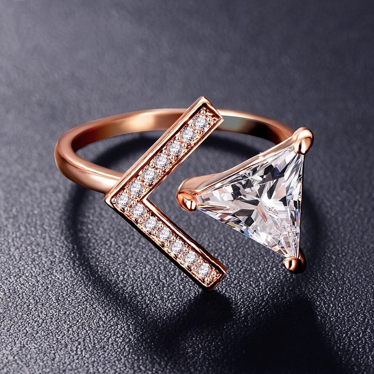 Rose Gold Arrow Rhinestone Ring