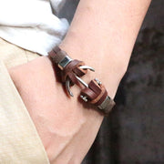 Leather Woven Anchor Bracelet