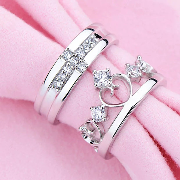 Silver Cross Crown Couple Ring