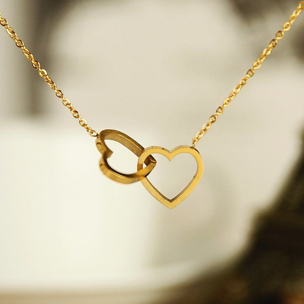 Double Heart Charm Necklace