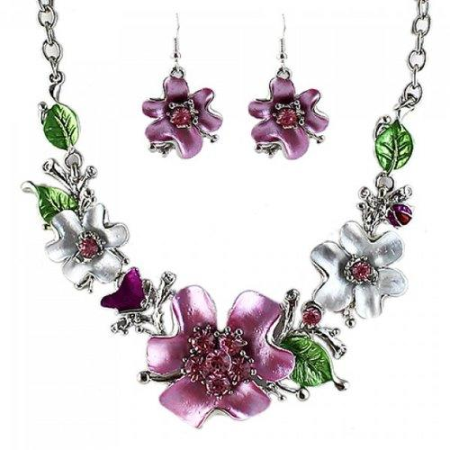 Noble Flower Shape and Leaf Shape Embellished Necklace and A Pair of Women's Earrings