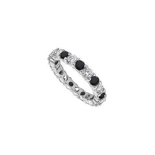Black and White Diamond Eternity Band : 14K White Gold - 0.50 CT Diamonds