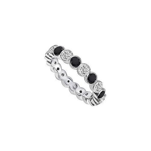 Black and White Diamond Eternity Band : 14K White Gold  1.00 CT Diamonds
