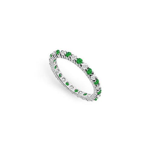 Diamond and Emerald Eternity Band : 14K White Gold - 1.00 CT TGW
