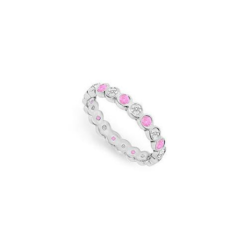 Pink Sapphire and Diamond Eternity Band : 14K White Gold  1.00 CT TGW