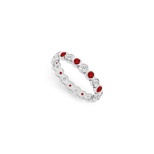 Diamond and Ruby Eternity Band : 14K White Gold  1.00 CT TGW