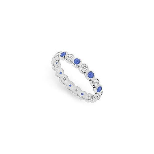 Diamond and Blue Sapphire Eternity Band : 14K White Gold  1.00 CT TGW