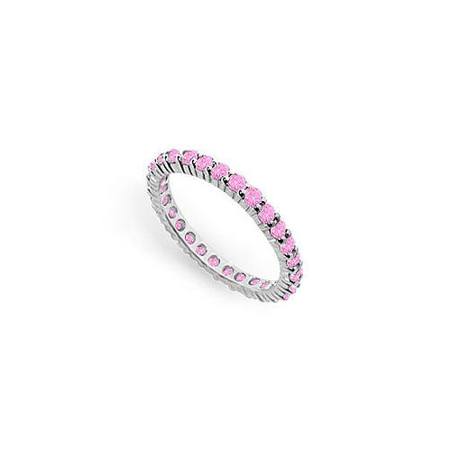 Pink Sapphire Eternity Band : 14K White Gold  1.00 CT TGW