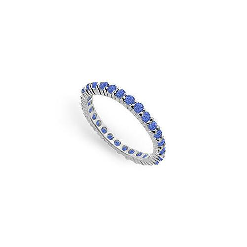 Blue Sapphire Eternity Band : 14K White Gold  1.00 CT TGW