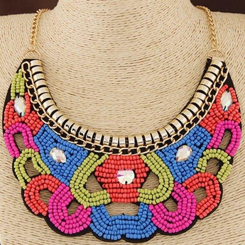 Ethnic Hollow Out Beads Necklace - Golden