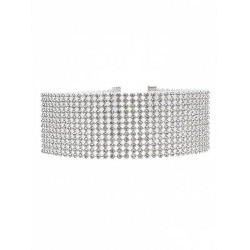 Rhinestoned Necklace - Silver