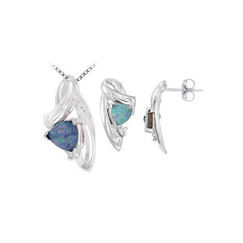 Opal and Diamond Pendant with Earrings Sets in 14K White Gold  1.09 CT TGW