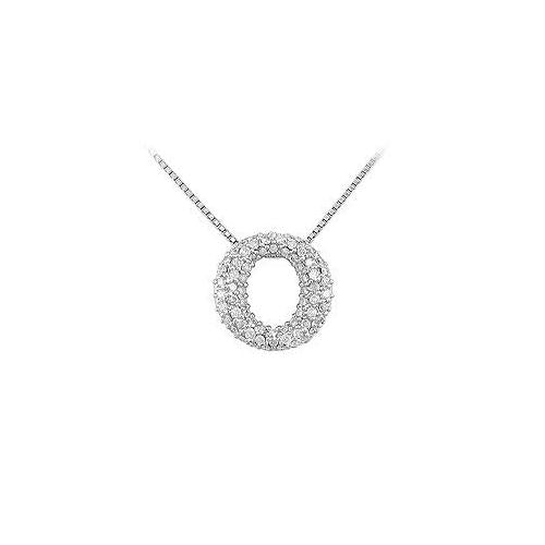 Diamond O Pendant : 14K White Gold - 0.75 CT Diamonds
