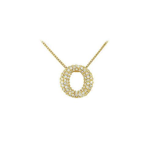 Diamond O Pendant : 14K Yellow Gold - 0.75 CT Diamonds