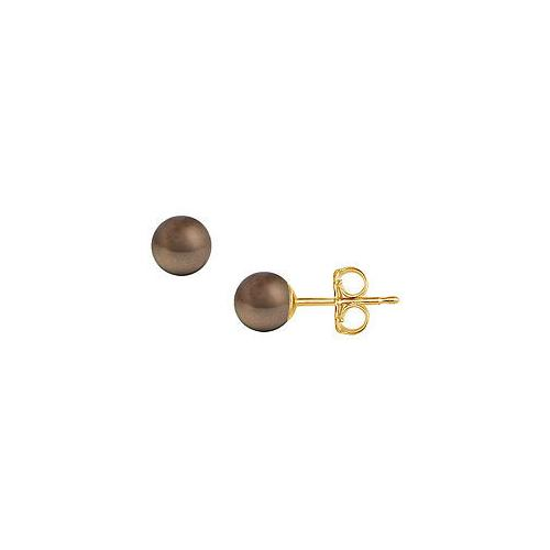 Akoya Cultured Pearl Stud Earrings : 14K Yellow Gold  6 MM