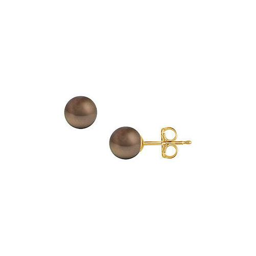 Akoya Cultured Pearl Stud Earrings : 14K Yellow Gold  9 MM