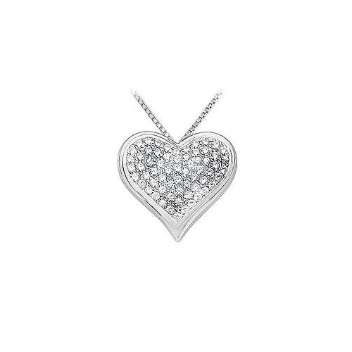 Diamond Heart Pendant : 14K White Gold - 1.25 CT Diamonds